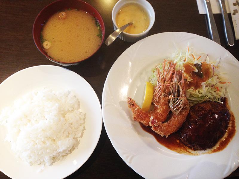 シャンボール ハンバーグ&エビフライ定食